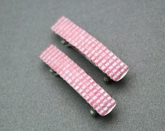 Pink French Barrettes, Mini Beaded Barrettes, Small Hair Accessories, Duo Decorative Barrettes, Tiny Barrettes Light Pink