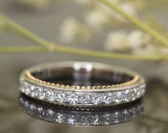 1/2 Eternity Diamond Wedding Band in 14k White Gold with 14k Rose Gold Beaded Milgrain, Round Diamonds, 3mm Wide, Two-Tone, Petite Meghan