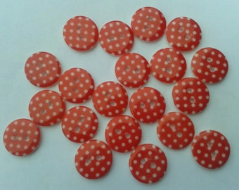 polka dot buttons, red spotty buttons, red buttons, bulk buttons, uk seller, buttons, spotty buttons, christmas buttons, sewing buttons