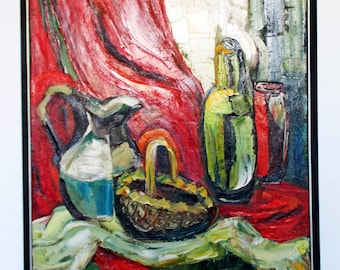 Contemporart Modern Acrylic Still Life by Audrey Dimarco Signed