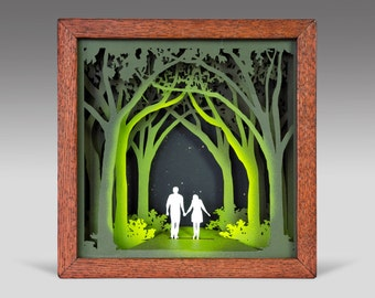 Unto The Path - Shadowbox with mat board, acrylic paint, and oak frame; wedding gift