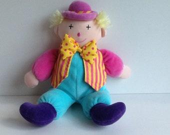 Vintage EDEN Plush Velour Clown Lovey Doll
