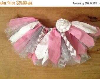 Pink, White, Grey, and Silver Scrap Fabric Tutu