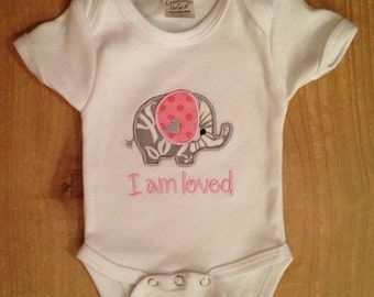 """Pink and Grey """"I am loved"""" Elephant Baby Bodysuit or Shirt"""