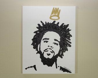 J.Cole Crown Painting (11x14) Hip Hop Art, Pop Art, Gold Crown