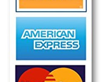 Credit card sign, Visa MasterCard Amex Discover sticker decal.