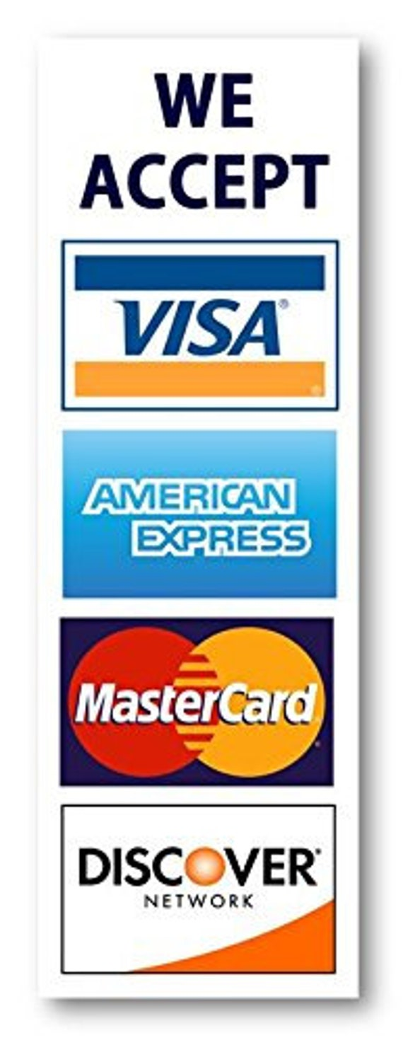 Credit card sign, Visa MasterCard Amex Discover sticker decal ...