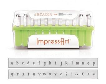 ImpressArt ARCADIA Lowercase Metal Stamping Kit, 3mm Alphabet Stamps,  Impress Art Lower Case Plus NEW Bonus Punctuation Design Stamps
