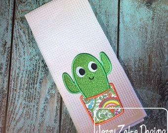 Cactus applique embroidery design - succulent appliqué design - plant appliqué design - cactus appliqué design