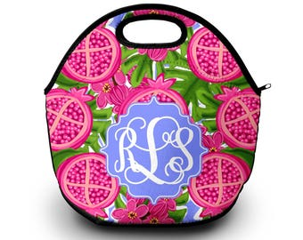 Lunch Box for Woman | Monogram Lunch Box | Neoprene Lunch Box | Lilly Pulitzer Inspired Lunch Box