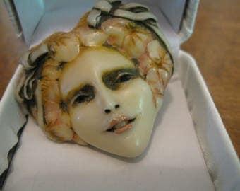 Vintage Sylvia Massey Lady Face Brooch Pin Signed