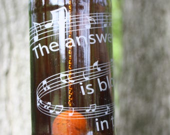 Blowing In The Wind Wind Chime, Musical Staff Wind Chime, Upcycled Beer Bottle Wind Chime, Sand Etched Images