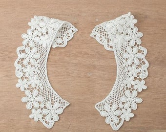 1 Pair Ivory Lace Collar Cotton Embroidery Clothes Stick Neckties