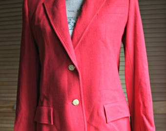 Vintage. Red/wool/gold button/jacket. Emily. Size 10. Very nice! 1960s.