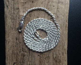 """Sterling Silver Italian Chain, 20"""" Rope 925 Necklace,"""
