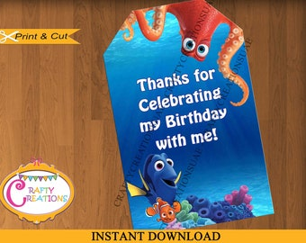 Finding Dory Favor Tag Label - Finding Dory Birthday Party Favor Tags - Treat Bag Label Sticker - INSTANT DOWNLOAD