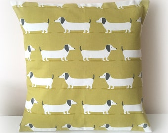 "Handmade Dachshund Sausage Dog Ochre Mustard  Cushion Cover 16""  Cotton Pillow"