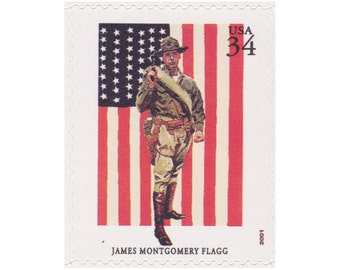 2001 34c American Illustrator Series - James Montgomery Flagg - 5 Unused US Postage Stamps - Item No. 3502a