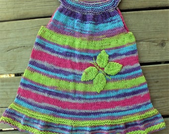 Hand Knitted Coton Girl Dress, 9 to 24 months