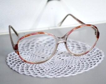 Vintage eye glasses,  Big Eye Glasses, Vintage Eyewear, Hipster Glasses, geek glasses, Reading glasses, translucent grey