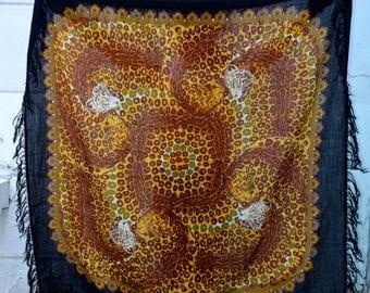 Vintage Pavlovo Posad shawl, Russian Wool shawl, Tablecloth, Scarf With Tassels, Animal print scarf, Leopard Brown Scarf, Women Accessories
