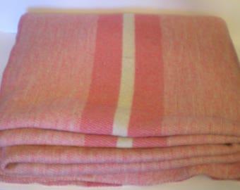 "Vintage Wool Camp Blanket Cottage Chic Cabin Decor 70 X 80"" Pink Stripe"