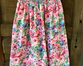 Vintage 80's Floral Print Rayon Midi Skirt Elastic Waistband size medium