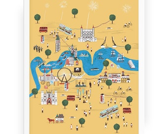 Totally Thames print -  illustrated map London city art Thames River Thames London illustration City map river London art city illustration