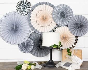 Silver and Gray Party Fans -Pinwheel Backdrop -Gray Wedding Decor -Silver Wedding -Paper Rosettes -Wedding backdrop -Paper Pinwheels -PLGR01