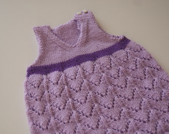 Knit Baby Dress, Purple Dress Baby Girl, Newborn Girl Outfit, Newborn Dress, Baby Shower Gift, Take Home Outfit, Purple Baby Dress