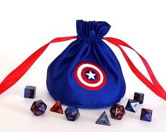 Captain America Blue Drawstring Dice Bag