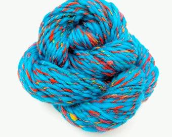 Handspun Two Ply, Thick and Thin Art Yarn, Merino and Silk