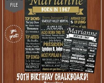 ON SALE! - Woman's 50th Birthday Chalkboard - Digital - 50th Birthday Chalkboard - 50th Birthday Decor - 1967 - Facts from 1967 - Fun Facts