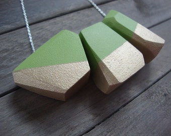 Geometric Green Necklace /Allena Style