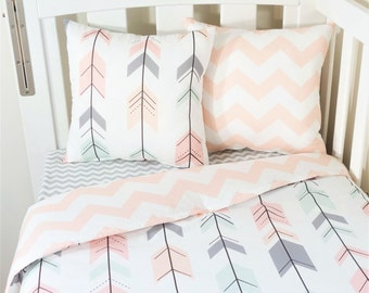 Mint, blush, grey, peach joining arrows and blush chevron nursery set items