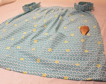 Blue and green floral print cotton apron