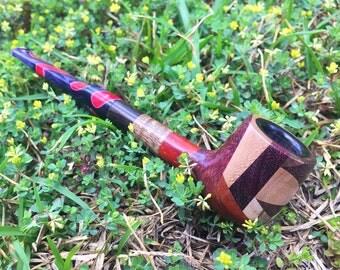 A patchwork billiard tobacco smoking pipe