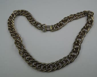 Signed Coro Pegasus Large Double Link Cable Chain Necklace c1945