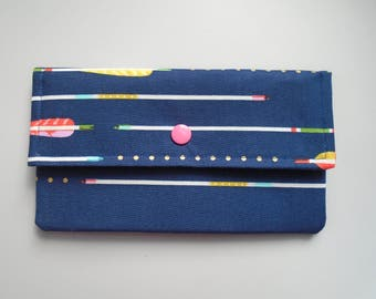Arrows credit card wallet, Fabric women's clutch, Passport & Checkbook holder, Cell phone clutch wallet, Coupon holder