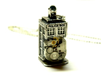 Magnificent time machine Doctor Who Tardis, Steampunk jewelry silver colored jewellery gift, unique surprise for big fans, brother, son, man