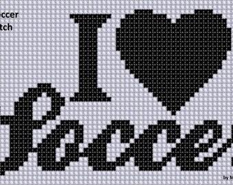 I Love Soccer Cross Stitch Pattern