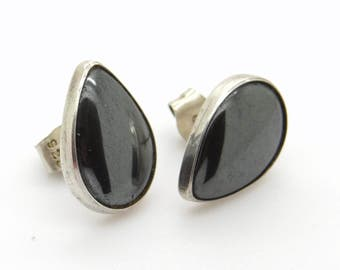 Hematite Post Earrings - Drop Shaped Sterling Silver Ear Studs 2/3 inch Long - Black Gemstone Pushback Earrings - Classical Vintage Jewelry