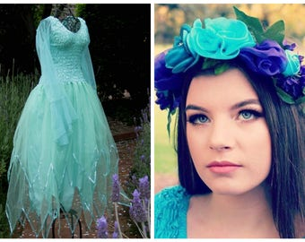Woman's  Mint Fairy Costume ~ Halloween Party Dress ~  Theatre ~ Flower Headpiece ~ Bridal ~ Ren Faire