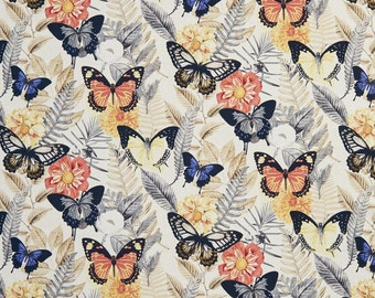 Red and Blue Large Butterflies Print Upholstery Fabric By The Yard | Pattern # B0470C