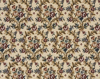 Green Ruby And Beige Floral Tapestry Upholstery Fabric By The Yard | Pattern # F658