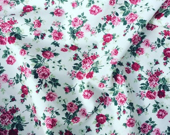 Beautiful red roses pretty floral rose cotton fabric by Rose and Hubble on an ivory white background by HALF METRE