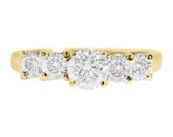 diamond engagement ring 120 carat 14k yellow gold ring eternity band multistone ring - Stacked Wedding Rings