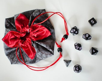 Small Crimson Pirate Lotus Bag With Polyhedral Dice Set