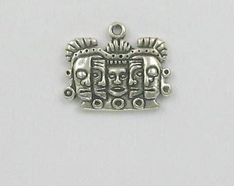 Sterling Silver Mayan Rebirth Mask Charm