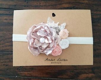 Beige and peach vintage headband, flower girl headband, newborn photography prop, newborn headband, toddler headband, vintage headband
